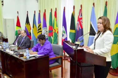 Minister of Foreign Affairs, Carolyn Rodrigues-Birkett delivering remarks at the opening of the 17th Meeting of the Council for Foreign and Community Relations. She is also the new Chair of COFCOR. (GINA photo)
