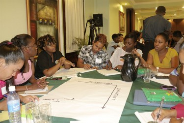 Vybzing Guyana 2014 participants engaged in deep discussion