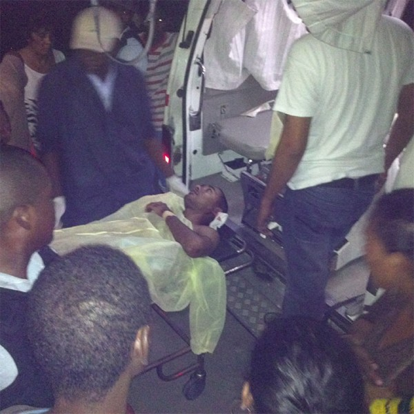 A wounded Davendra Harricharran last evening at the New Amsterdam Hospital