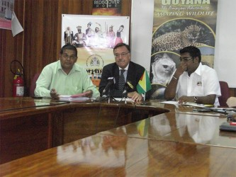L to R) Director of the Guyana Tourism Authority (GTA), Indranauth Haralsingh, Argentine Ambassador to Guyana Luis Alberto Martino and Minister of Tourism Irfaan Ali.