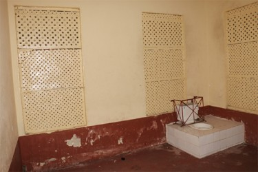 A section of the female lockups at the Georgetown Magistrate's Court. This cell is smaller than the one used to house the male prisoners. It comprises one small room while the male cell comprises two small rooms – one has the toilet facilities.
