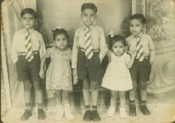 The children of the Kanhai family in 1955. From left: Amar, Asha, Kamal, Meera and Rohit. (Photo courtesy of Kamal Kanhai – Proprietor of Kanhai's Guyana Electrical Agency)