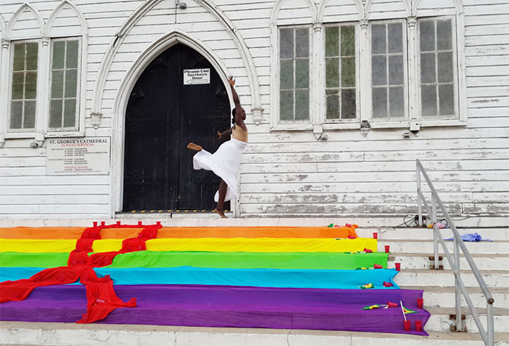 David Sayl of Let's Dance preforming on the steps of St Georges Cathedral at the 5th International AIDS Candlelight Memorial hosted by SASOD on Sunday.
