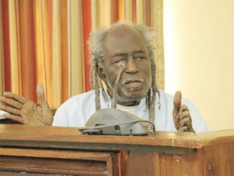 Eusi Kwayana testifying yesterday