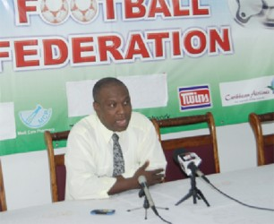 GFF President Christopher Matthias addressing the media during the press conference