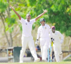 Miguel Cummins appeals for a catch at the wicket off  Marshall Ayub on day three of the four day match between the Sagicor High Performance Centre team and Bangladesh A at Windward Sports Club in Barbados. (photo courtesy of WICB media/Randy Brooks of Brooks La Touche photography.