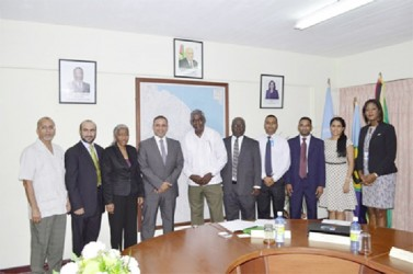 Public Works minister Robeson Benn with the Guyana/UAE delegation negotiating the air service agreement between the two countries.