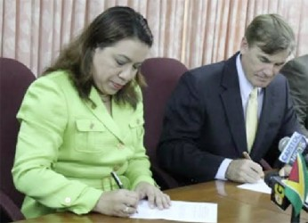From left are Guyana's Minister of Foreign Affairs Carolyn Rodrigues-Birkett and US Ambassador D Brent Hardt.