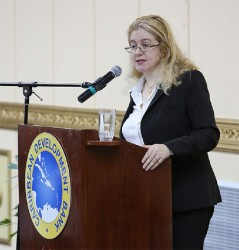 Héla Cheikhrouhou, the Executive Director of the newly-established UN Green Climate Fund, delivering the Caribbean Development Bank's (CDB) 15th William G. Demas Memorial Lecture at the Pegasus Hotel on Tuesday evening. (CDB photo)