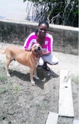 Carmen Sandbach and her dog Obama