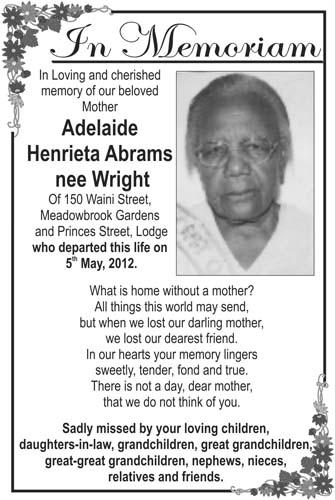 Adelaide Abrams nee Wright
