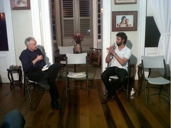 Rahul Bhattacharya (right) and Brendan de Caires during the conversation