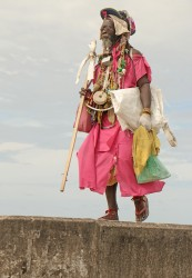 This man was decked out in his take on jewellery along the Kingston seawall yesterday.