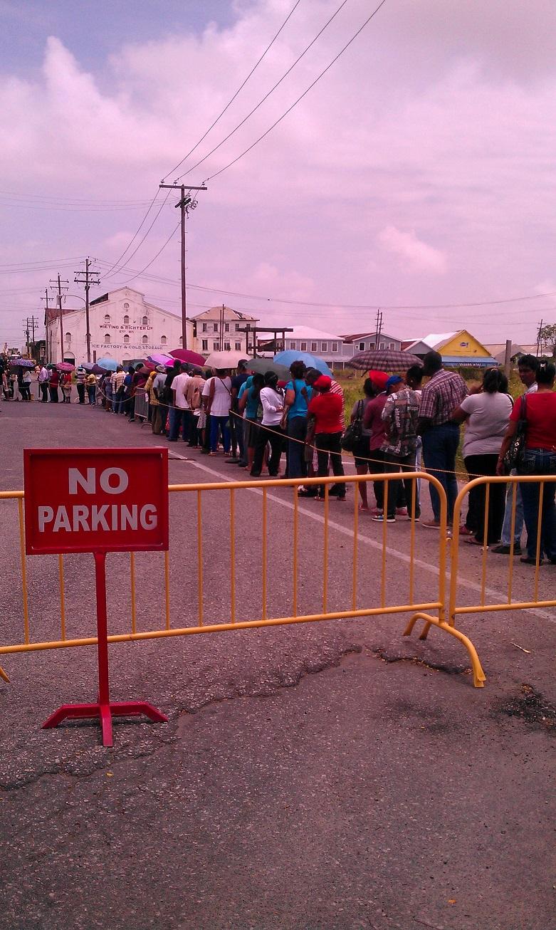 Long line at the US visa fair