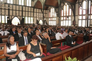 (From left) Human Services Minister Jennifer Webster, APNU MP Amna Ally, APNU leader David Granger, and Finance Minister Ashni Singh at the funeral service of the Lawrence Williams at the St George's Cathedral.