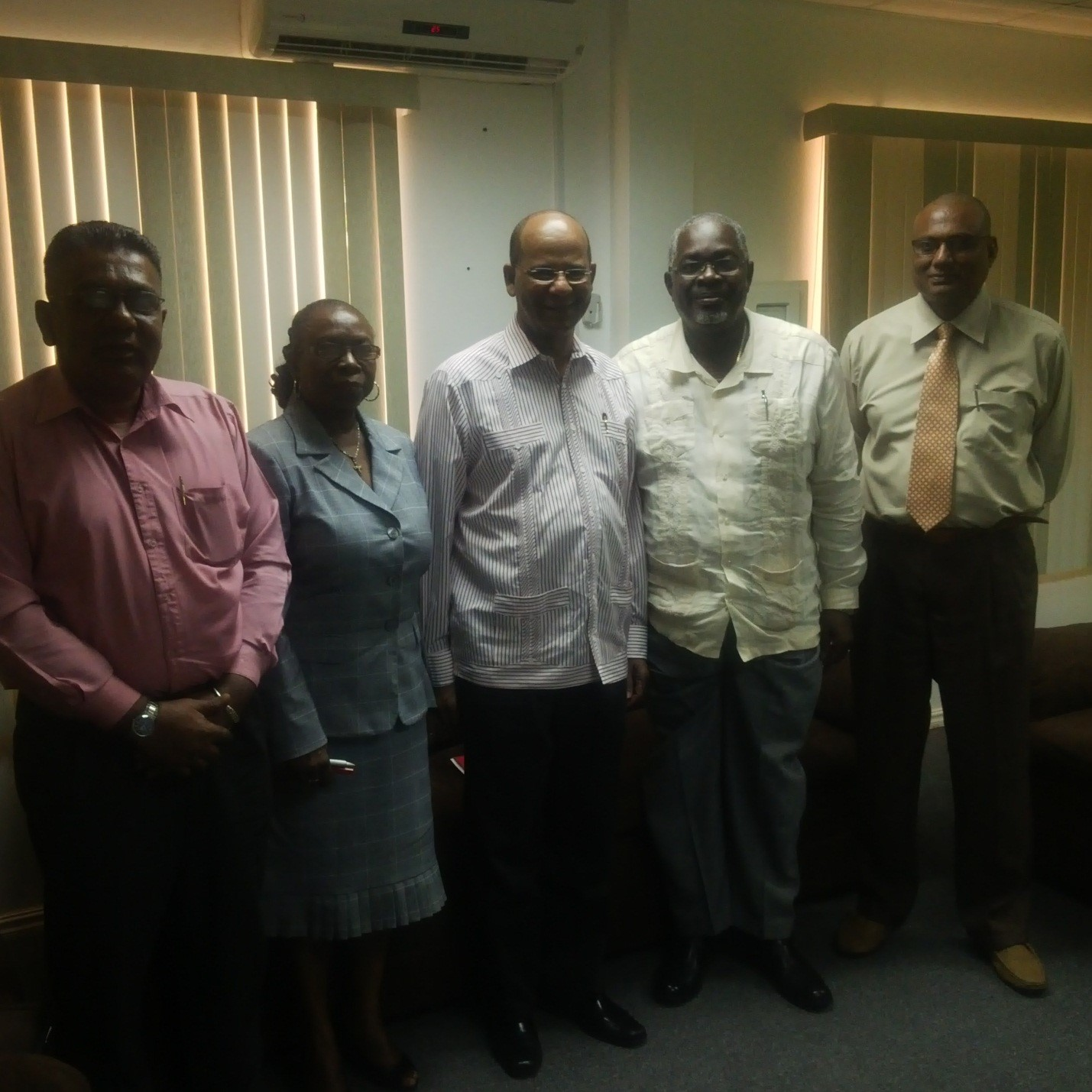 From left to right are PPP Executive Secretary Zulfikar Mustapha, GECOM's Beverly Critchlow, PPP General Secretary Clement Rohee, GECOM's CEO Keith Lowenfield and GECOM's Vishnu Persaud.