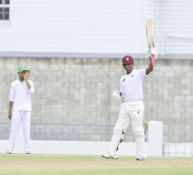 Leon Johnson acknowledges the applause after reaching his half century on the opening day of the second four day match between the West Indies Sagicor High Performance Centre team and Bangladesh A at the Kensington Oval. (Photo courtesy of WICB media)