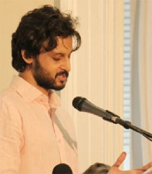 Rahul Bhattacharya at a Moray House Trust reading on May 13th (Arian Browne photo)