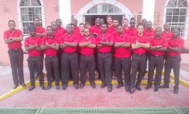 Trinidad and Tobago 15s rugby squad pose for a photo after arriving yesterday.