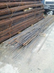 Some of the steel rods that were left behind by the robbers