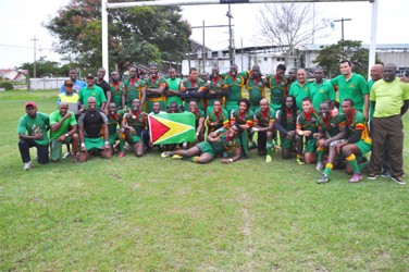 New Southern Zone Champs! The National Men's 15s Rugby team pose for a photo following their 15-8 victory over Trinidad yesterday.