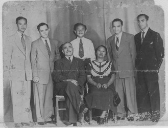 The Klautky family circa 1945 From left standing: John, Claude (aka Ned), David, Robert, Albert (aka Dick). Seated are their father Claude Hugh (aka Uncle Jack) and mother, Christine Ashby who was an Arawak.