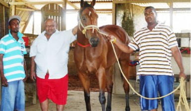 Mohamed Shariff and two of his workers with his winning horse, 'Swing Easy'