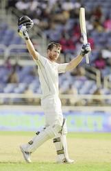 James Neesham celebrates his second test century yesterday. (Photo courtesy of WICB media)
