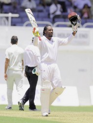 Chris Gayle was unable to realize his chereished dream of scoring a test century in his 100th test but he did manage to get halfway there scoring 64 of the West Indies' score of 262 all out. (Photo courtesy of WICB media)