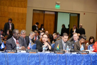 Minister Carolyn Rodrigues-Birkett at the meeting in Paraguay (Foreign Affairs Ministry photo)