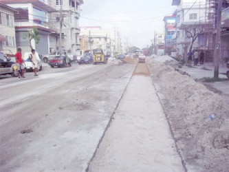 Road works being effected in Georgetown