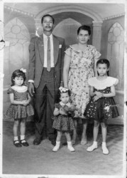 The Harrison family circa 1960 Mr and Mrs John Harrison with their three daughters  From left: Jennifer, Andrea and Denise