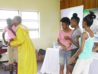 Students of the New Amsterdam Multilateral during a dramatic performance on the impact of flooding in Region 6