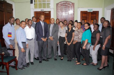 Members of Blue CAPS and affiliated organisations pose with Speaker of the National Assembly Raphael Trotman (at centre with striped tie) following a visit to the Parliament Buildings yesterday (Photo courtesy of Blue CAPS)