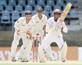 Shivnarine Chanderpaul overtook Sri Lanka's  Kumar Sangakkara and is now the seventh highest scorer in test cricket . (Photo courtesy of WICB media)