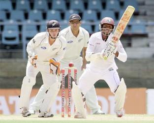 Shivnarine Chanderpaul overtook Sri Lanka's  Kumar Sangakkara and is now the seventh highest scorer in test cricket . (Photo courtesy of WICB media)