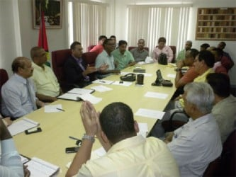 The meeting in progress yesterday