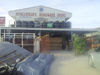 Muneshwar's Hardware Store at Good Hope, East Coast Demerara after the robbery yesterday afternoon.