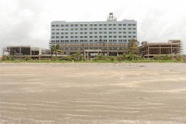 The still to be completed Marriott Hotel (Stabroek News file photo)