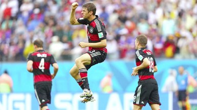 Thomas Mueller of Germany (C) celebrates scoring (FIFA photo)