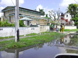 An area along Waterloo Street in front of the St John's College is flooded with sewage as a result of the damage to a nearby main yesterday.