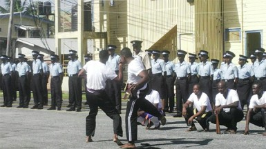 Recruits during a martial arts display on Friday at the TSU Drill Square, Eve Leary.