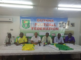 Technical Director, Mark Rodrigues (third from left) making a point at yesterday's press briefing.
