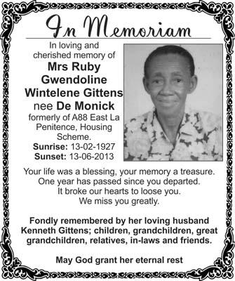 Mrs Ruby Gittens nee De Monick
