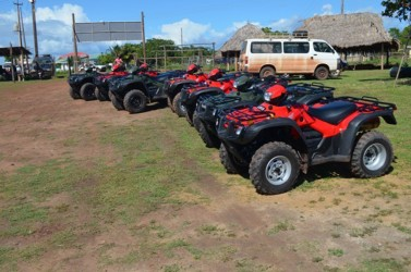 The nine ATVs which were handed over to villages of Region Nine during the Regional Toshaos' Conference (GINA photo)