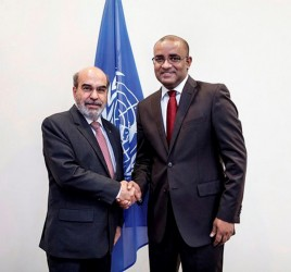 FAO Director General Jose Graziano Da Silva (left) meeting  Dr. Bharrat Jagdeo (Photo via GINA)