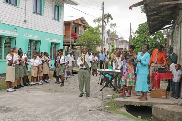 Members of the Berea Seventh-day Adventist Church delivering their message on Garnett Street, Albouystown on Saturday.