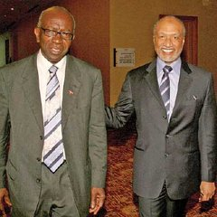 Flashback: Mohamed bin Hammam, right, of Qatar and then FIFA Vice President Austin Jack Warner after their meeting at Hyatt Regency (Trinidad) Hotel, in Port of Spain on May 10, 2011.