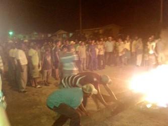 Farmers lighting the tyres last night