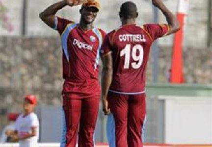 Fast bowler Sheldon Cottrell … his four-wicket haul helped undermine Sri Lanka A. (file photo)